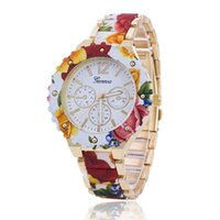 Wholesale Flowers Pin United States - Supply the Europe and the United States Ms hot style alloy flower strap watch printed Geneva, Geneva watch wholesale