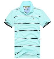 Wholesale Men Polo Shirt Stripe - Embroidered brand Stripe polo shirt Solid Cotton Men Short Sleeve Crocodile POLO Shirt Summer Wear Lapel