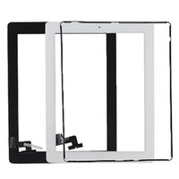 Wholesale Digitizer Ipad2 Adhesive - Touch Screen Glass Panel with Digitizer Buttons Adhesive for iPad 2 3 4 Black and White DHL Free Shipping
