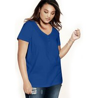 Commercio all'ingrosso- JiaSPang PLUS SIZE US 14W-32W Donne T-shirt donna T-shirt V-collo Big Size T-Shirts Neck Sweetheart Ultimate maniche corte T-shirt