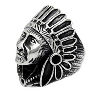 Wholesale Influx Ring - European and American retro punk Indian chief index finger ring influx of people of non-mainstream men and women of titanium steel rings