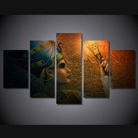 ingrosso tela egizia-Commercio all'ingrosso Queens of Egypt Tela Pittura Soggiorno Decorazione 5 Pannelli Pittura A Olio Immagini A Parete Stampata No Frame