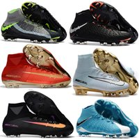 Wholesale Tech Sale - Original Mercurial Superfly V CR7 Tech Craft 2.0 FG Football Boots Soccer Shoes High Ankle Soccer Cleats Boots Cheap Football Cleats Sale