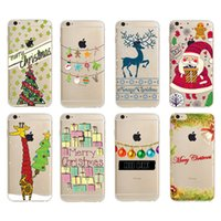 Wholesale Thin Big Cell Phones - Christmas Gift Big Sale TPU Cell Phone Case Ultra Thin Back Cover XMAS Pattern Phone Cases Cell Phone Cases for Iphone6 6plus Iphone7 7plus