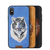 Para iPhone X Case Brand Slim Protetor completo Beast Embroidery Phone Case para iPhoneX Back Cover Tiger Lion Leopard shell