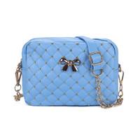 Wholesale Summer Messenger Bags - 2017 Summer Fashion Women Messenger Bags Rivet Chain Shoulder Bag PU Leather Crossbody Quiled Crown bags