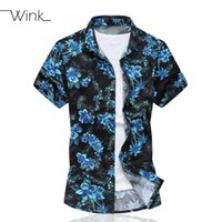 Wholesale Men Pattern Flower Shirt - Wholesale- Flowers Pattern Dress Shirt Men Brand Camisa Masculina Short Sleeve Shirt Slim Homme Thin Male Summer Blue Big Size 5XL S007