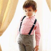 Wholesale Suspenders For Baby Boys - Wholesale- Cute Baby Clip-on Suspender Y-Back Elastic Suspenders for School Boys Girls J48 T55
