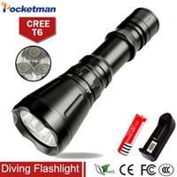 Wholesale Scuba Dive Flashlight - 8000 Lumens Diving Flashlight 3* CREE XM-L T6 8-mode 60M LED Flash Light Waterproof Scuba Dive Torch Underwater Hunting