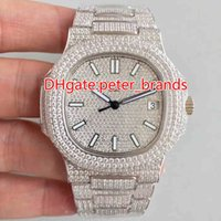 Wholesale Ice Calendar - NEW Full iced out hip hop rappers watch automatic best grade men's luxury wristwatch stainless steel silver diamonds case 40mm watches