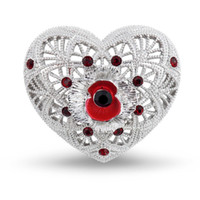 Wholesale White Gold Filigree - 1.2 Inch Filigree and Poppy and Heart Brooch with Red Enamel and Crystals White Gold Tone