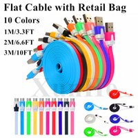 Wholesale Noodle Colorful - Flat Noodle Micro USB Cable V8 Charger Sync Data Quick Charge Cable Cord Colorful Wire Line USB Charger For Samsung Fast Charger Cable