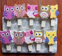 Wholesale Wooden Postcards Wholesale - 10Pcs Pack Mini owl Wooden Clothes Photo Paper Peg Pin Clothespin Craft Postcard Clips Home wedding Decoration With Rope