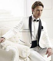 Wholesale Sale Shawl Collared Tuxedo - Hot sale tuxedos White men dress Shawl collar groom suits wedding suits(Jacket+Pants+bowtie)