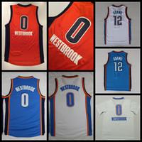 Wholesale Shirts Mens Stitching - 2017 New Russell Westbrook Basketball Jerseys Orange 0 Russell Westbrook 12 Steven Adams Shirts Stitched Basketball Jersey Cheap Mens S-XXL