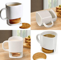 Wholesale White Ceramic Cups - Ceramic Mug White Coffee Tea Biscuits Milk Dessert Cup Tea Cup Side Cookie Pockets Holder For Home Office 250ML KKA3109