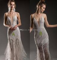 Wholesale Spaghetti Strap Slit Wedding Dress - full embellishment sexy elegant fit and flare sheath wedding dresses 2018 emanuel brides bridal spaghetti strap deep plunging open v back