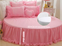 Wholesale romantic pink bedding set online - Romantic circle bed Embroidery lace pink princess Satin Jacquard bedspread bedding sets pillowcase bed skirt Duvet Cover