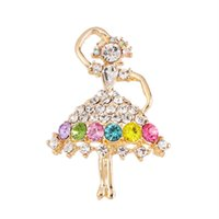 Wholesale Dancing Girl Brooches - Wholesale- Elegant Colored Crystal Ballet Dancing Girl Rhinestone Brooches For Women Wedding Bouquets X0043
