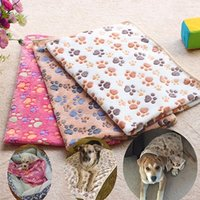 Wholesale 75 cm cm Cute Floral Paw Print Dog Puppy Fleece Soft Pet Blanket Beds Warm Dog Mat Pet Cat Mats