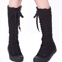 Wholesale Knee High Antiskid - Wholesale-New Women Boots Canvas Lace Up Knee High Boots Women Motorcycle Flat Casual Tall Punk Shoes Woman Antiskid Side Zipper Shoe