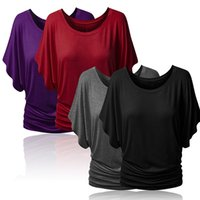 Wholesale Clothes Elbow - Wholesale-Women Boat Neck Dolman Casual Tops Elbow Sleeve Off Shoulder Tee T-Shirt Lovely Clothes
