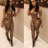 Wholesale Leopard Print Jumpsuits For Women - Wholesale- 2017 Hot Sale Exotic designer bodycon jumpsuit deep v-neck print jumpsuit overalls for women 3162