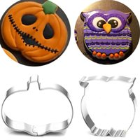 Wholesale Metal Pastry Biscuit Cake Cookie - 2pcs Pumpkin cookie cutter owl metal biscuit mold patisserie gateau cake pastry baking tools cupcake toppers