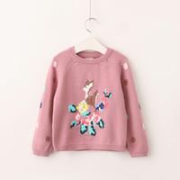 Wholesale Crochet Baby Giraffe - Everweekend Kids Girls Crochet Cute Sweater Tops Baby Girls New Fashion Animal Giraffe Sweater Western Dots Top