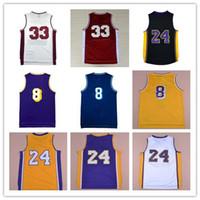 Wholesale Discount Black Uniforms - Discount 24 Kobe Bryant Jerseys 8 Throwback High School 33 Kobe Bryant Retro Shirts Uniform Yellow Purple White Black Blue Red Mix Order