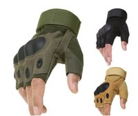 Wholesale Carbon Knuckle Gloves - Tactical Army Military Airsoft Shooting Bicycle Combat Fingerless Paintball Hard Carbon Knuckle Half Finger Gloves