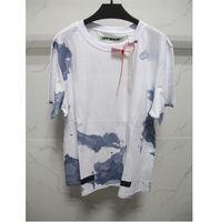 Wholesale Spot Shirt - 2017 spring summer off white women men t-shirts Blue Liquid Spots watercolour splash short sleeve t-shirt tee off-white c o