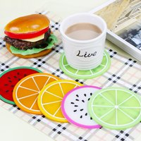 Atacado Lovely Silicone Isolamento Mats Cute Fruit Modelagem Cup Bowl Coasters Mesa Cozinha Bar Pot Coaster antiderrapante Mats Home Decor