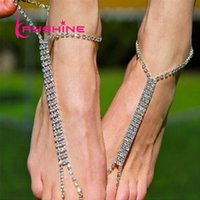 1 Pc Bohemia Ethnic Silver Cor Longa Cadeia Com Strass Chain Anklets Beach Barefoot Sandals Foot Jewelry For Women