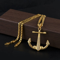 Wholesale gold anchor pendant necklace for sale - Group buy Hip Hop Necklace Gold Plated Anchor Cross CZ Crystal Side Pendant Necklace Cuban Chain Titanium Stainless Steel