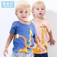 Wholesale Giraffe T Shirt Girls - Yingzifang 2017 Summer Boys Girls clothes Baby Casual Cotton Soft Short Sleeved T-shirt Printing Children's Cartoon Giraffe Tees