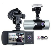 Wholesale Hd Car Cam Dual - Dual Lens Car DVR X3000 R300 Dash Camera with GPS G-Sensor Camcorder 140 Degree Wide Angle 2.7inch Cam Video Digital Recorder