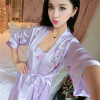 Wholesale Satin Lingerie Chiffon Sleepwear - New Women Solid silk Erotic lingerie sexy lingerie Sleepwear Negligee Erotic Costumes sexy lenceria Pyjamas lingerie sexy hot eroticksexy008