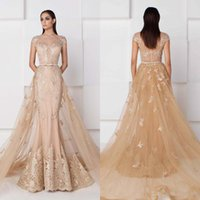 Wholesale Evening Dresses Detachable - Saiid Kobeisy Mermaid Champagne Evening Dresses With Detachable Train Short Sleeve Lace Applique Prom Gowns Sheer Neck Vintage Party Dress