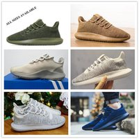 Wholesale Cotton Fabric Knit - With Original Box 2017 Men Women Tubular Shadow Knit Core Cardboard 350 Boost Black Moonrock Tan Casual Sneakers Running Shoes Size 36-45