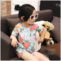 Wholesale Girls Summer Butterfly Shirt - Girls Summer Outfits Sets Butterfly Printed Short Sleeve Tops Shirt + Shorts Pants 2pcs Set Princess Girl Casual Cotton Outfit Suits A6570