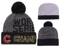 Wholesale Cowboy Church Caps Wholesale - 2016 world series champs cubs beanies Winter Beanies High Quality Beanie For Men Women Skull Caps Skullies Pom Knit Hats Drop Shipping