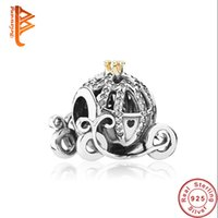 Wholesale Pandora Pumpkin Bead - BELAWANG 925 Sterling Silver Pumpkin Car Charms Big Hole Beads With Clear Cubic Zircon Fit Pandora Jewelry Making For Girls Halloween Gift