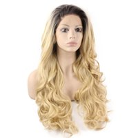 Wholesale Wig 22 613 Blonde Mixed - 1b# #27 mixed #613 synthetic glueless lace wig for woman 16inch 150% density blonde hair combs & straps