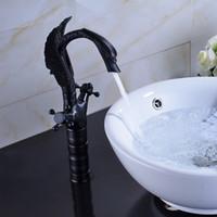 robinets hauts achat en gros de-Tall Oil Rubbe Bronze Forme Cygne Cascade Salle De Bains Lavabo Robinet Mitigeur