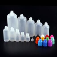 ingrosso dropper per liquido-E-juice E-liquid E-cig Bottiglia vuota di olio Bottiglie di plastica con contagocce 3ml 5ml 10ml 15ml 20ml 30ml 50ml 100ml 120ml Bottiglia di olio con tappo a prova di bambino
