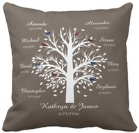 "Wholesale Family Tree Print - Throw Pillow Case Family Tree, White Tree on Taupe, 8 Names & Dates Square Sofa Cushions Cover, ""16inch 18inch 20inch"", Pack of X"