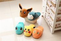 WHOLESALE Chaussons Poke Cartoon sans talon Bulbasaur Charmander Eevee Pantoufles en peluche animal Pocket Monster Slippers pour FEMMES