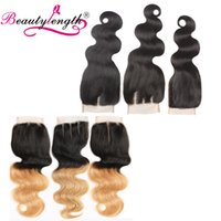 Wholesale Synthetic Peruvian Weave - 4x4 Body Wave Lace Closure Unprocessed Top Lace Closures Natural Color #1B Ombre Weave T1B 27 8-24inch Top Closures Human Hair Sample 1pcs