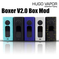Wholesale Unlimited Free - Original HUGO VAPO Boxer V 2.0 Vape Box Mods Genuine Boxer 2.0 Vaporizer Mod 1W-188W Huge Vapor TC Mods 5 Colors Unlimited Vaping DHL Free